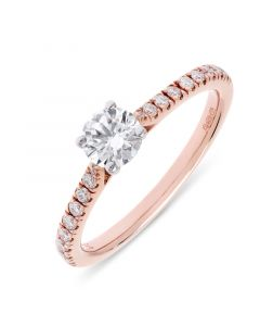 18ct rose gold single stone brilliant round cut diamond engagement ring with diamond shoulders. 0.46cts