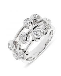 Platinum brilliant round cut diamond dress ring. 1.50cts