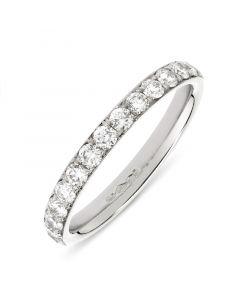 Platinum brilliant round cut diamond half hoop eternity ring. 0.51cts