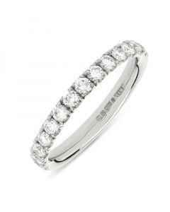 Platinum brilliant round cut diamond half hoop eternity ring. 0.55cts