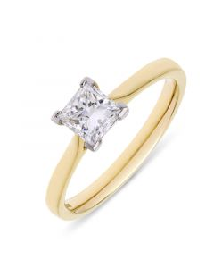 18ct yellow gold princess cut single stone engagement ring. 0.80cts