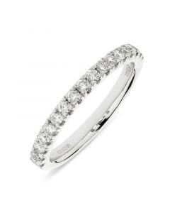 Platinum brilliant round cut diamond half hoop eternity ring. 0.43cts