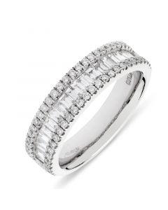 Platinum Brilliant round and baguette cut diamond dress ring. 0.85cts