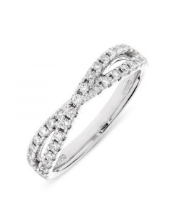 Platinum diamond crossover eternity ring. 0.40cts