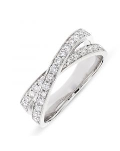 Platinum brilliant round cut diamond 2 row crossover dress ring. 0.49cts