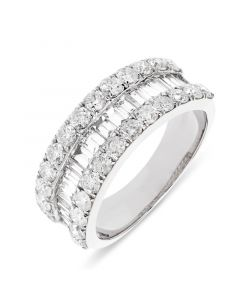 18ct white gold brilliant round and baguette cut diamond dress ring. 2.02cts