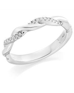 Platinum brilliant round cut diamond twist wedding band. 0.12cts