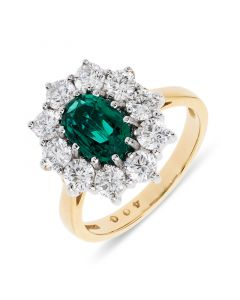 18ct yellow gold oval cut emerald and diamond cluster ring.