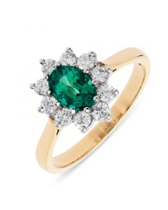 18ct yellow gold oval cut emerald with brilliant round cut diamonds cluster ring.
