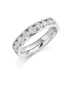 Platinum brilliant round cut diamond half hoop eternity ring. 1.00cts.