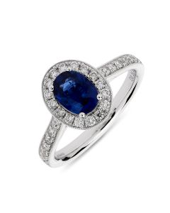 18ct white gold oval cut sapphire halo engagement ring. 0.90cts