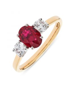 18ct yellow gold oval cut ruby and diamond engagement ring. 1.11cts