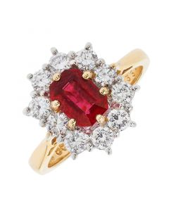 18ct yellow gold ruby and diamond cluster engagement ring. 1.16cts