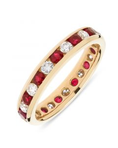 18ct yellow gold 3.7mm brilliant round cut ruby and diamond full hoop eternity ring.