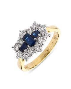 18ct yellow gold emerald cut sapphire and diamond engagement ring. 63cts