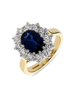 18ct yellow gold oval cut sapphire and diamond cluster engagement ring. 2.30cts