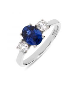 Platinum oval cut sapphire engagement ring. 1.29cts