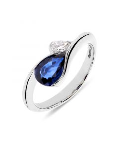 Platinum pear cut sapphire engagement ring. 1.12cts