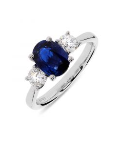 Platinum oval cut sapphire engagement ring. 1.67cts
