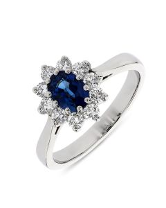 Platinum sapphire and diamond cluster ring. 1.09cts