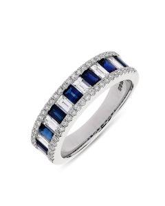 18ct white gold sapphire and diamond half hoop eternity ring