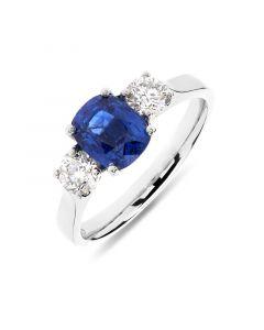 Platinum cushion cut sapphire engagement ring. 1.77cts