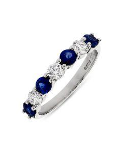 Platnum sapphire and diamond half hoop eternity ring