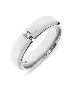 Platinum 6mm wedding band with princess cut diamond. .05cts