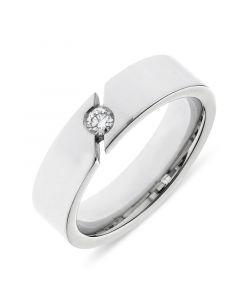 Platinum 6mm wedding band with brilliant round cut diamond. .08cts