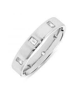 Platinum 4mm full hoop baguette cut diamond eternity ring. 0.40cts