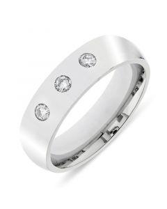 Platinum 6mm wedding band with 3 brilliant round cut diamonds. 0.30cts