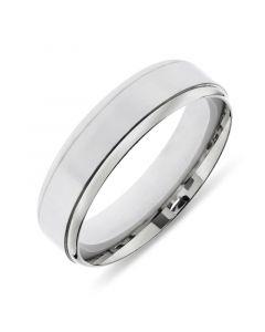 Platinum 6mm wedding band with tramline edges