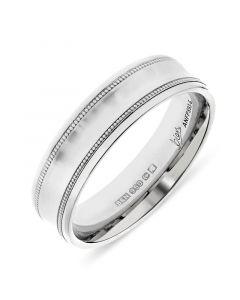 Platinum 6mm concave wedding band with milgrain edges