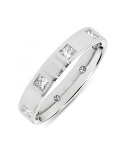 Platinum 4mm full hoop princess cut diamond wedding ring. 0.68cts