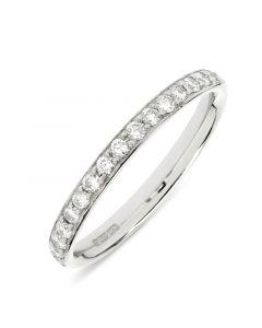 Platinum full hoop round cut diamond wedding ring. 0.52cts