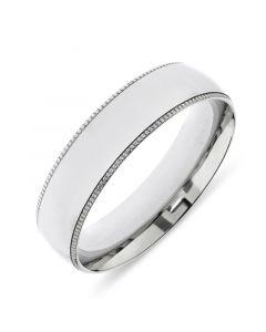 Platinum 6mm wedding band with milgrain edges