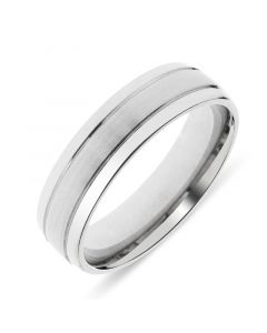 Platinum mens 6mm wedding ring with 2 lines cut into band