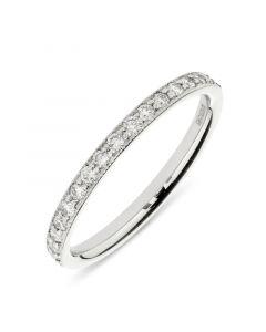 Platinum half hoop round cut diamond wedding ring. 0.30cts