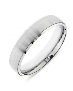 Platinum mens 5mm matt finish wedding ring with bright cut edges