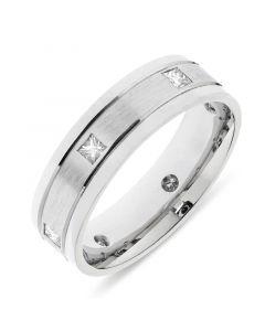 Platinum 6.5mm wedding band with princess cut diamonds. 0.45cts