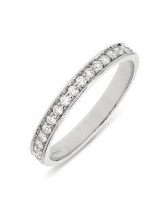Platinum brilliant round cut diamond full hoop wedding ring. 0.54cts