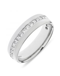 Platinum 6mm wedding band with princess cut diamonds. 0.91cts
