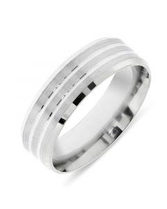 Platinum 6.5mm double tramline wedding band