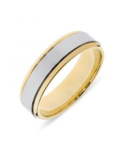18ct yellow gold 6mm wedding band with platinum inlay