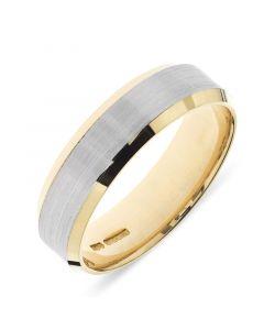18ct yellow gold 6mm beveled edge wedding band with platinum inlay